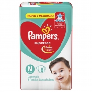 Panales Pampers Super Sec Mediano 8 Un